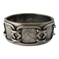 Victorian Era Aesthetic Movement Sterling Silver Sparrow Decorated Cuff Clamper Bangle Bracelet