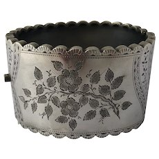 Victorian Era Aesthetic Movement Sterling Silver Floral Wide Cuff Clamper Bangle Bracelet