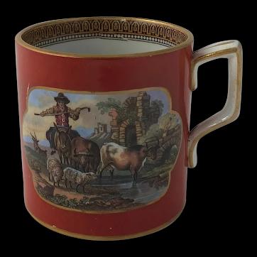 19th C Georgian Hand Painted Transferware Pearlware Childs Mug Harriet Isabella