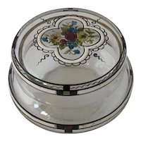 Antique Secessionist Bohemian Glass Powder Dresser Trinket Jar with Floral Enamelling