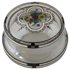 Antique Secessionist Bohemian Glass Powder Dresser Trinket Jar with Floral Enamelling