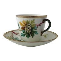 Antique 18th Century British Porcelain Cup and Saucer Hand Painted Hawthorn