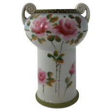 Antique Nippon Hand Painted Roses Moraige Vase