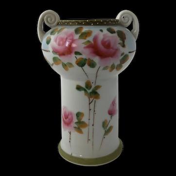 Antique Nippon Hand Painted Roses Moraige Vase
