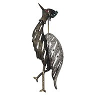 Vintage Sterling Silver Crane Stork Heron Brooch with Glass Simulated Diamond Emerald and Ruby
