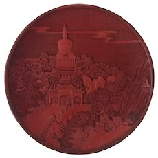Early 20th C Chinese Cinnabar Lacquer Plate