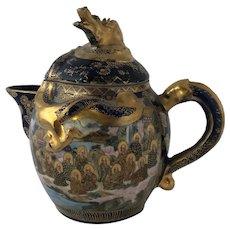 Japanese Meiji Period Shimazu Hododa Satsuma Cobalt Dragon Hot Water Pot or Lidded Milk Pitcher