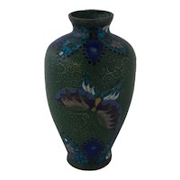 c 1900 Japanese Cloisonne Vase with Butterflies