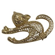 Rare Mid Century Birks Canada Gold Vermeil Sterling Silver Filigree Scaredy Cat Brooch