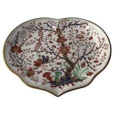 19th C Derby Porcelain Partridge Cherry Tree Kakiemon Style Imari Heart Shaped Dish Staple Repair