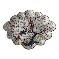 19th C Derby Porcelain Partridge Cherry Tree Kakiemon Style Imari Scalloped Dish Staple Repair