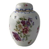 Early 20th C Victoria Austria Porcelain Ginger Jar Decorated with Dresden Sprays