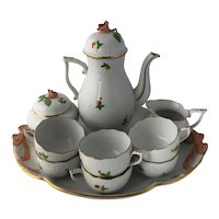 12 Piece Vintage Herend Hungary Porcelain Coffee Tea Chocolate Set Tiny Wild Strawberry Decor Rose Finials