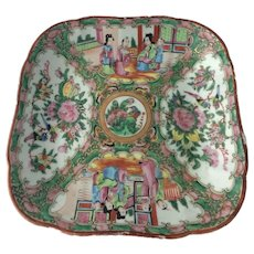 Mid 19th Century Chinese Export Famille Rose Medallion Porcelain Square Bowl Serving Dish
