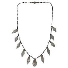 Art Deco Period Czech Sparkling Cut Crystal Drop Necklace