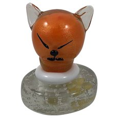 Reserved for Emily Vintage Mid Century Murano Alfredo Barbini Art Glass Orange Cat Head Paperweight Sculpture