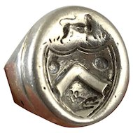 Antique Sterling Silver Large Men's Heraldic Armorial Family Crest Seal Signet Ring