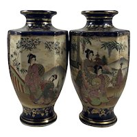 Matched Pair of Japanese Meiji Period 19thC Large Cobalt Blue 6 Sided Satsuma Vases