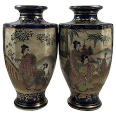 Matched Pair of Japanese Meiji Period 19thC Large Cobalt Blue 6 Sided Satsuma Vases