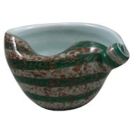 Vintage Mid Century Murano Fratelli Toso Shell Form White and Green Copper Aventurine Spiral Striped Bowl