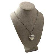 Large Vintage Engraved Sterling Silver Heart Shaped Locket Pendant Necklace