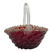 Vintage Mid Century Deep Ruby Red Murano Basket Bowl with Bullicante and Gold Aventurine Rigaree