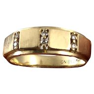 Vintage 1960s Mid Century Modern 10K Yellow Gold and Diamond Faceted Men's or Ladies Ring Band