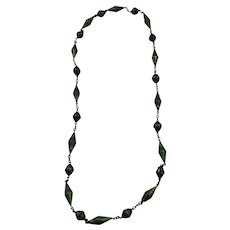 Vintage Chinese Export Silver Pierced Work Green Enamel Long Beaded Necklace