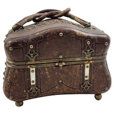 Unusual Victorian Leather and Mother of Pearl Silk Lined Trunk Shaped Purse or Jewelry Box Casket