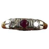 Vintage 1930s Art Deco 14K Yellow and 18K White Gold Diamond and Ruby Ladies Wedding Ring