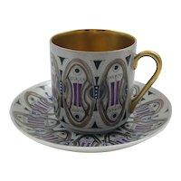 Mid Century Modern Arabia Zaida Hand Painted Heavy Gilt Mocha Cup and Saucer