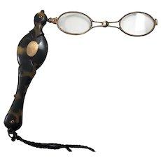 c1960s Victorian Era Faux Tortoiseshell Lorgnette Glasses
