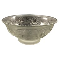 1930s Josef Inwald Czech Barolac Large Frosted Art Glass Water Lily Bowl
