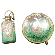 Antique Victorian Era Moser Crane and Lily of the Valley Enamelled Patch or Trinket Box and Perfume Bottle