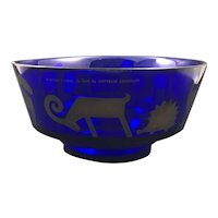 Rosenthal Egizia Sottsass Cobalt Blue Art Glass Bowl with Sterling Silver Overlay Animal Pattern