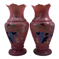 Pair of Pink Bristol Cased Glass Victorian Vases Butterflies And Flowers