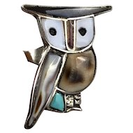 Vintage 1970s Southwestern Sterling Silver Stone Inlay Figural Owl Ring
