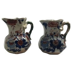 Pair of Early 19th C Antique Masons Ironstone China Hydra Handled Japan Basket Polychrome Enamel Jugs