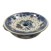19th Century Antique Victorian Pearlware Copeland Late Spode Sponge Bowl and Strainer