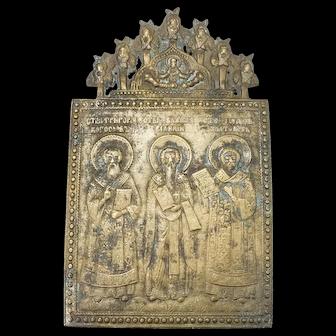 Russian Brass Icon: Three Hierarch's