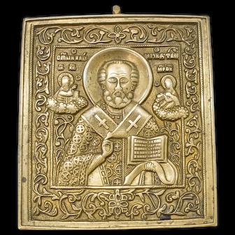 Russian Bronze Icon: Saint Nicholas