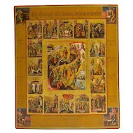 Russian Icon: Resurrection With 16 Feast Days