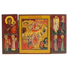 Russian Icon Triptych of Resurrection, Mother Of God & Saints