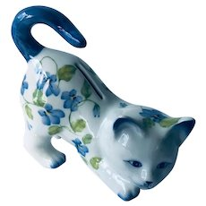 Kitty Cat Coin Bank Porcelain with floral decor