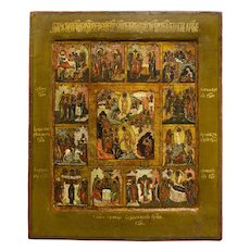 Russian Icon: Resurrection And Descent Into Hades