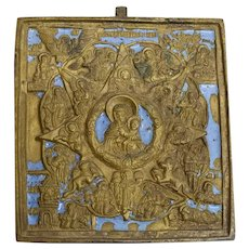 Russian Bronze Icon: Burning Bush Mother of God