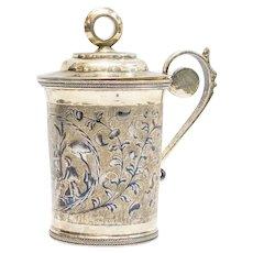 Russian Silver-Gilt & Niello Cup w/Lid, 1834
