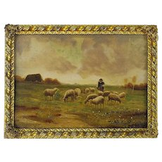 Miniature Painting of Shepherd and Sheep