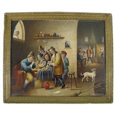 Miniature Painting of Smokers in Tavern