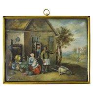 Miniature Painting of Peasants 19th century